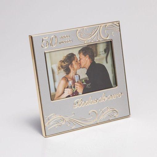 Porta Retrato Dourado para 1 Foto 10x15cm Bodas de Ouro Prestige