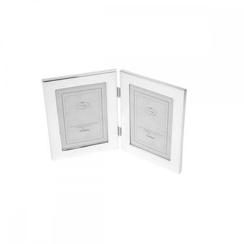 Porta-retrato Duplo de Aco 13x18 Cm Prateado