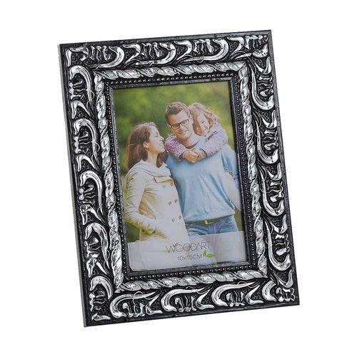 Porta-Retrato Elegance - 10x15 Cm - Preto e Prata em Madeir