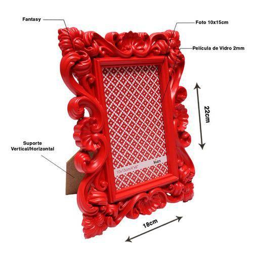 Porta Retrato Fantasy 10x15cm Plastico Vermelho