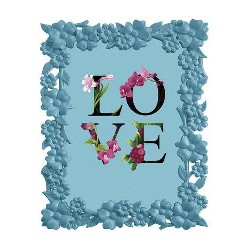 Porta-Retrato Love Flower 10x15 Cm Azul - 18x13,5 Cm