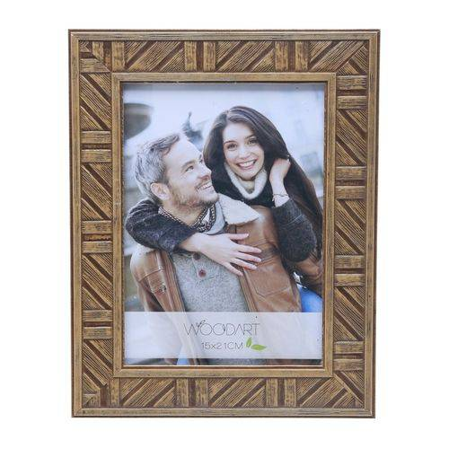 Porta Retrato Marrom para 1 Foto 10x15 Listras Woodart