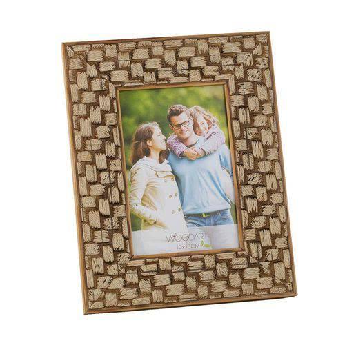 Porta-Retrato Perfil Trançado - 10x15 Cm - Bege em Madeira