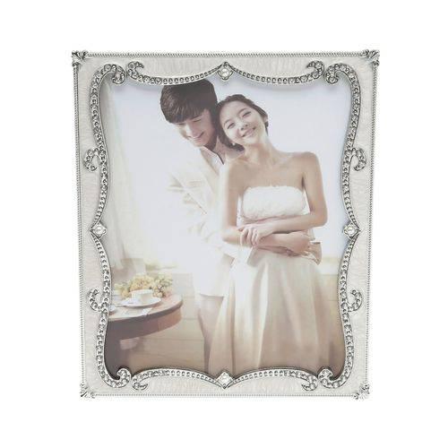 Porta Retrato Perolado com Strass 13X18Cm Branco Prestige
