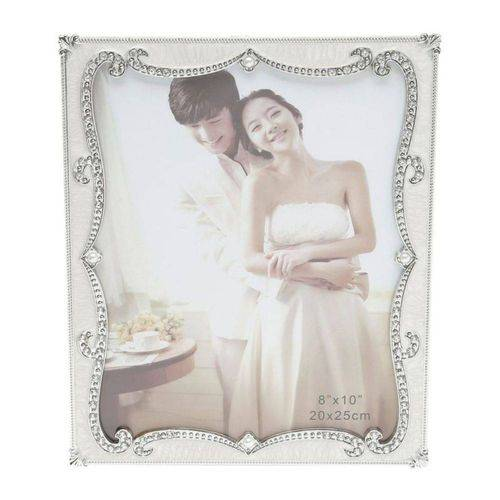 Porta Retrato Plástico Perolado com Strass 20cmx25cm Rojemac Branco