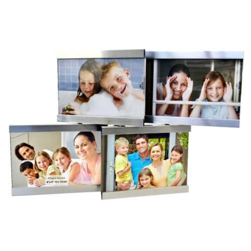 Porta Retrato Prata para 04 Fotos 15x10 Cm