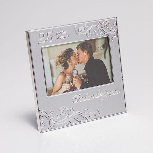 Porta Retrato Prata para 1 Foto 10x15cm Bodas de Prata Prestige