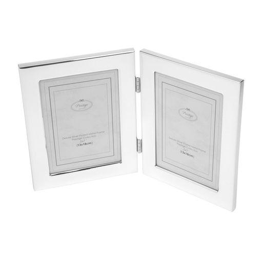Porta Retrato Prata para 2 Fotos 15x20cm Duos Prestige