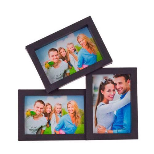 Porta Retrato Preto 10x15 para 03 Fotos