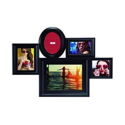 Porta-Retrato Preto para 5 Fotos