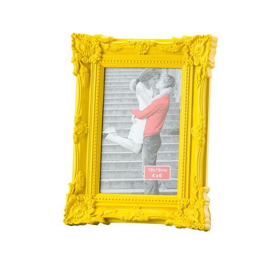Porta Retrato Retrô de Plástico Amarelo Médio