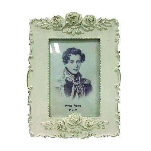 Porta-retrato Rosas 10x15 Branco Envelhecido