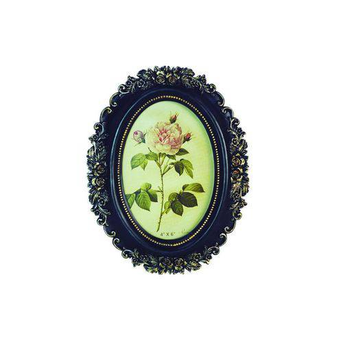 Porta-retrato Rosas Oval 10x15 Preto e Dourado