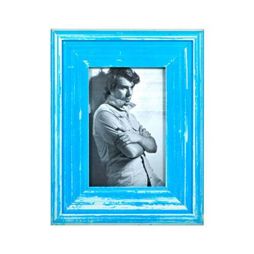 Porta Retrato Rústico Azul 10x15 Cm
