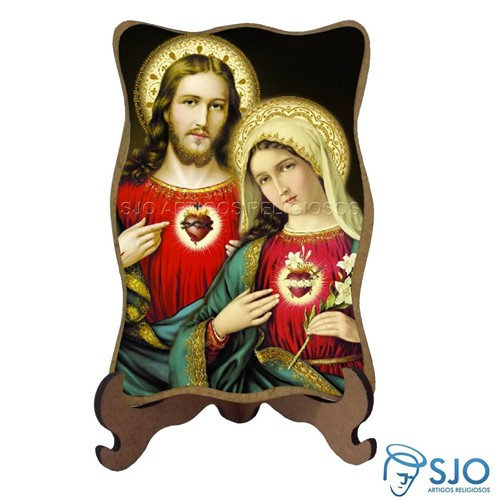 Porta-Retrato Sagrado Coração de Jesus e Maria | SJO Artigos Religiosos