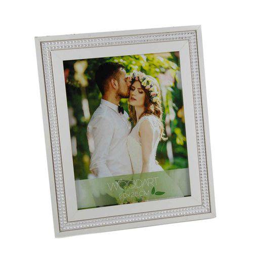Porta-Retrato Thailan 13x18 Cm Branco com Strass - WoodArt