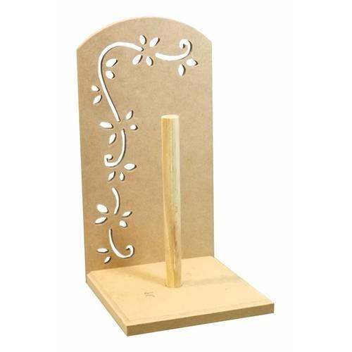 Porta Rolo de Papel Placa Floral Vazado - Mdf