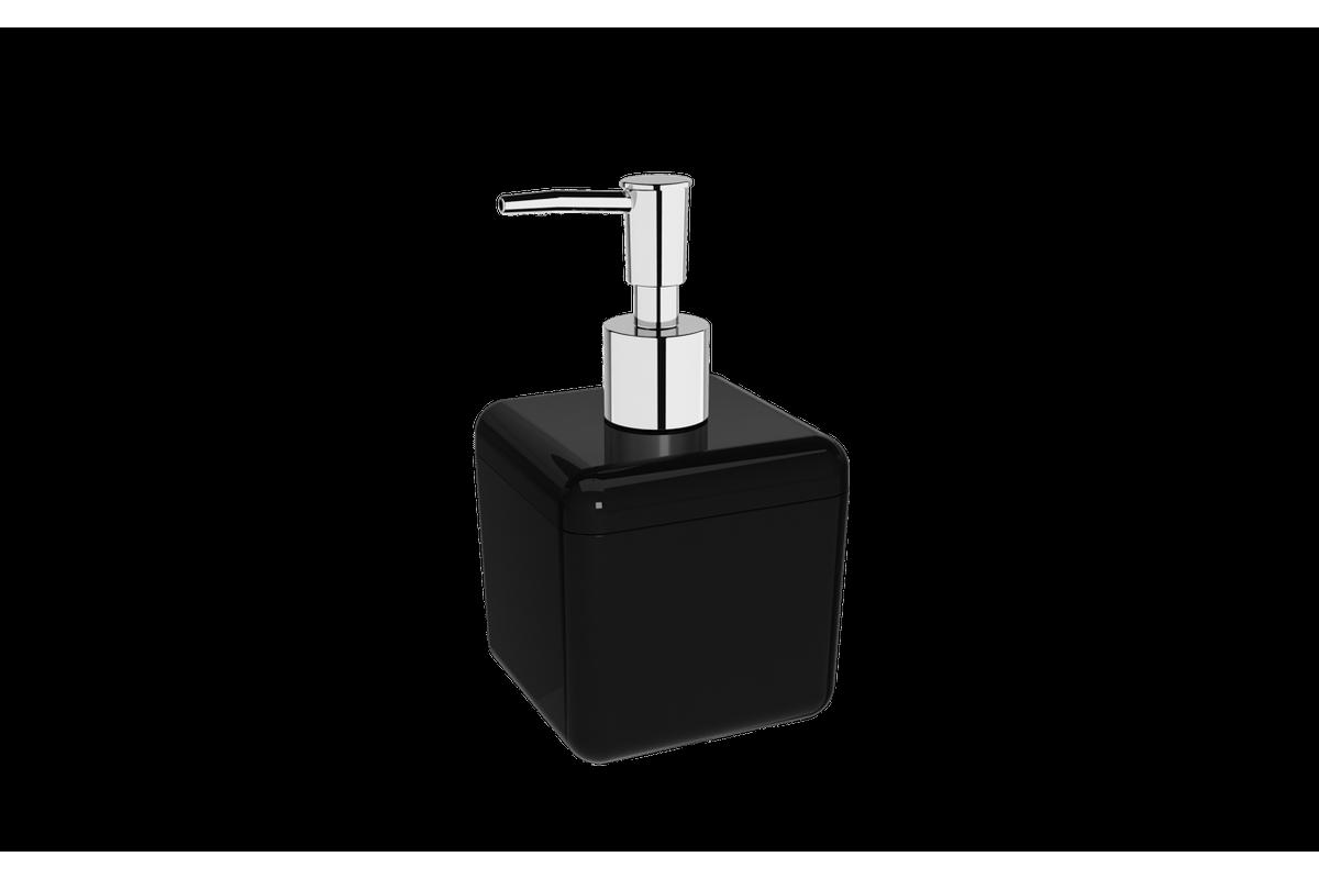 Porta-sabonete Líquido 330 Ml Cube - PT 8,5 X 8,5 X 15 Cm 330 Ml Preto Coza