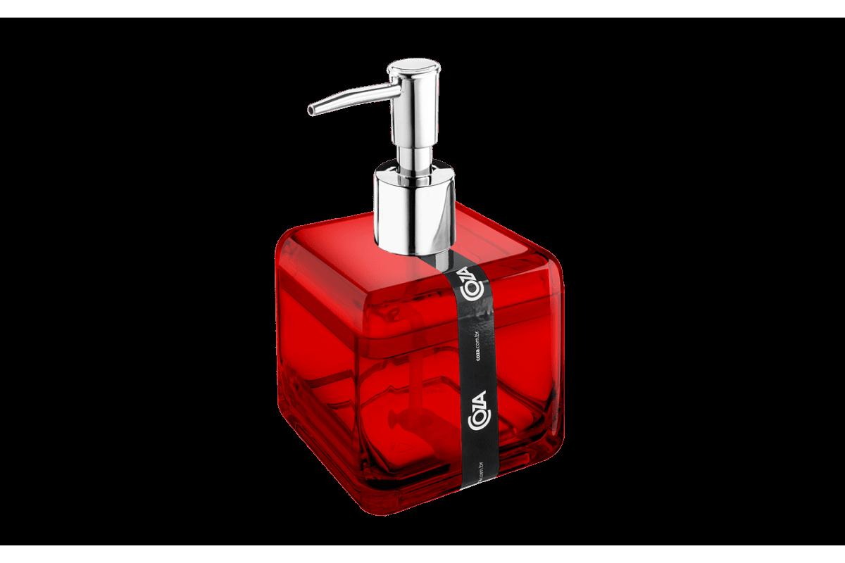 Porta-Sabonete Líquido - Cube 8,5 X 8,5 X 15 Cm 330 Ml Vermelho Transparente Coza