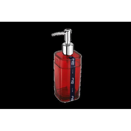 Porta-Sabonete Líquido - Splash 6,5 X 6,5 X 19,2 Cm 290 Ml Vermelho Transparente Coza