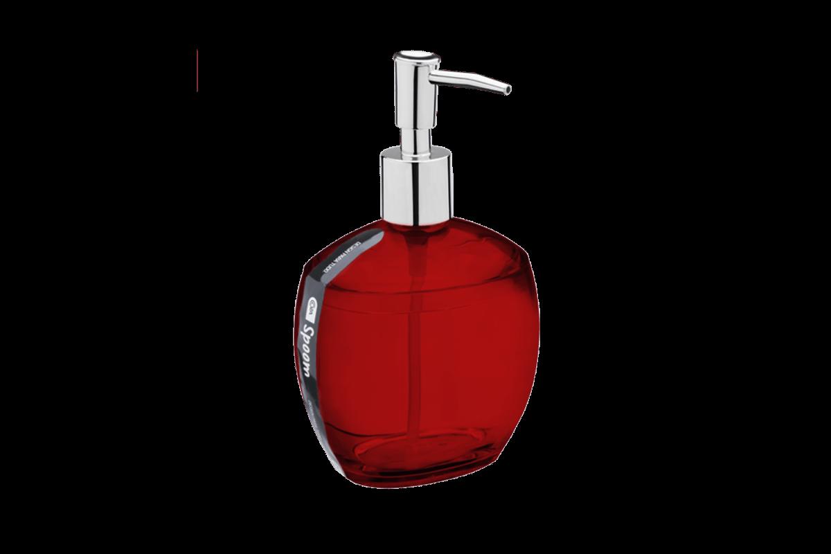 Porta-Sabonete Líquido - Spoom 10,6 X 8,5 X 17,2 Cm 350 Ml Vermelho Transparente Coza