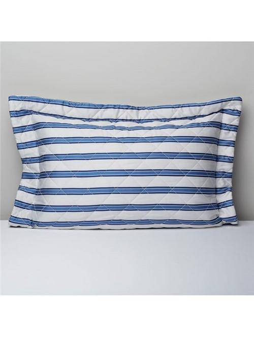 Porta Travesseiro Celeste Listrado Azul 50X90