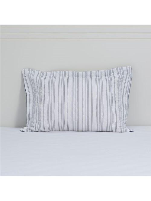 Porta Travesseiro Midtown Listrado Branco e Cinza 50X70