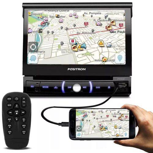 Pósitron DVD Retrátil Sp6330bt Bluetooth Espelhamento Android