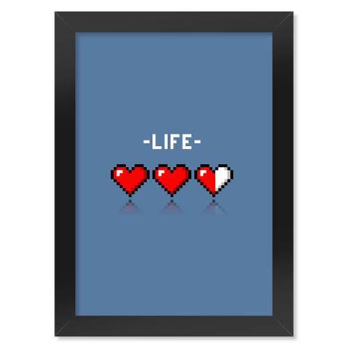 Poster com Moldura 8-Bit Life - Azul