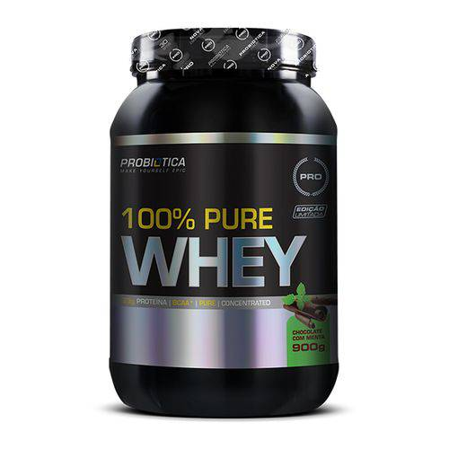 Pote 100% Pure Whey 900g Concentrado Morango - Probiotica