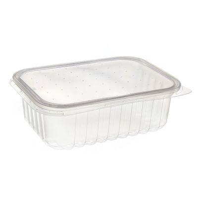 Pote de Plástico Descartável para Alimentos Retangular com Tampa 500ml com 24 Unidades Prafesta