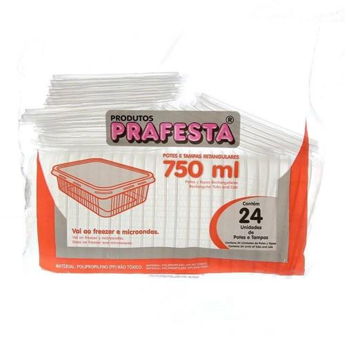 Pote de Plástico Descartável para Alimentos Retangular com Tampa 750ml com 24 Unidades Prafesta