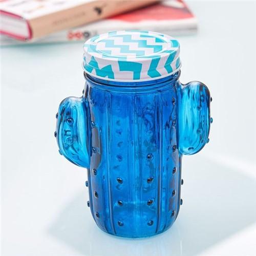 Pote de Vidro Decorativo Cactus com LED Havan Azul Azul