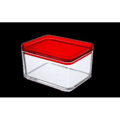 Pote Multiuso - MOD 15,9 X 12,3 X 9,4 Cm 1 L Cristal com Vermelho Coza