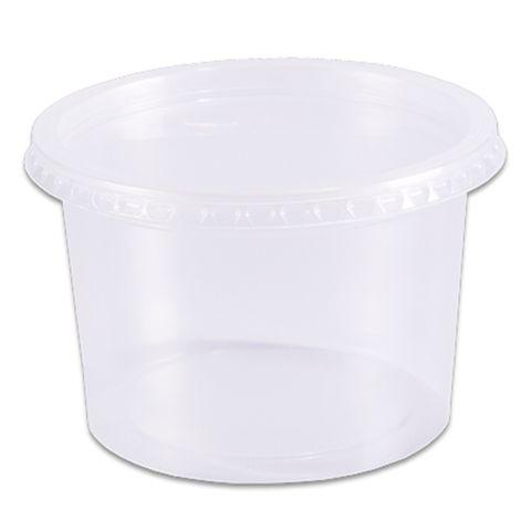 Pote Plástico Redondo Transparente Freezer/Microondas 500ml C/24 - Prafesta