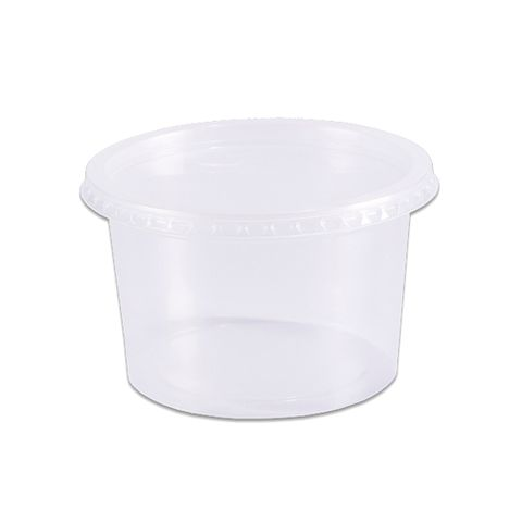 Pote Plástico Redondo Transparente Freezer/Microondas 250ml C/24 - Prafesta