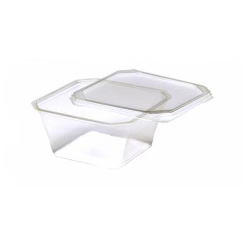 Pote Quadrado com Tampa Freezer/Microondas 250ml C/20 - Prafesta