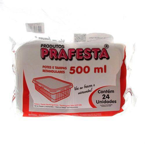 Pote Retangular Freezer Microondas Cap.500ml C/24 - Prafesta