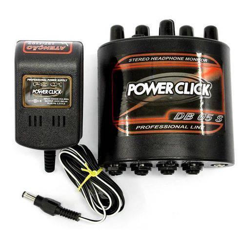 Power Click Db 05 S Stereo Monitor e Amplificador Áudio de Fone de Ouvido com Fonte de Energia