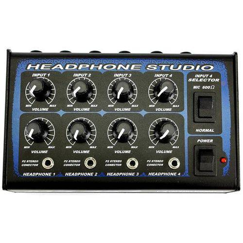 Power Click Mixer 4x4 Estúdio Portátil com 4 Entradas para 4 Fones e Fonte de Energia