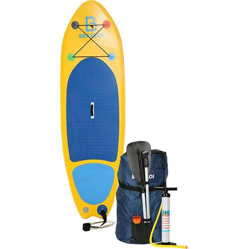 Prancha de Stand Up Paddle Inflável Brazzos Modelo Teens 8'0 Pés Amarelo e Azul Claro