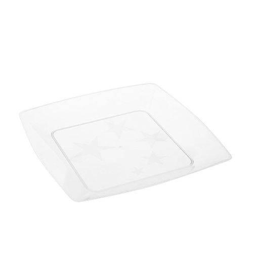 Prato Acrílico Quadrado 15cm C/ 10 Unidades Branco