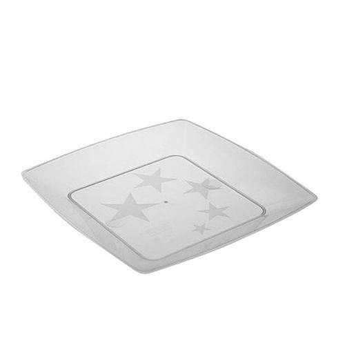 Prato Acrílico Quadrado 15cm C/ 10 Unidades Cristal