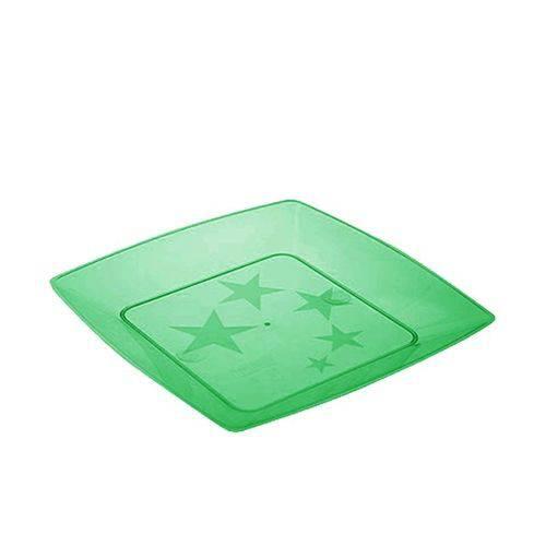 Prato Acrílico Quadrado 15cm C/ 10 Unidades Verde Escuro