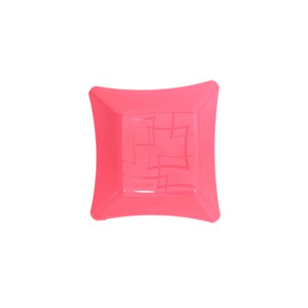 Prato Acrílico Quadrado 16x16 Rosa Baby