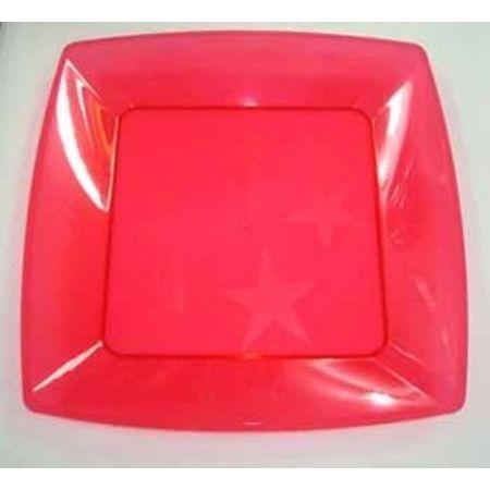 Prato Acrílico Quadrado 21cmx21cm Vermelho - 10 Unidades