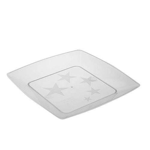 Prato Acrílico Quadrado 22cm C/ 10 Unidades Cristal