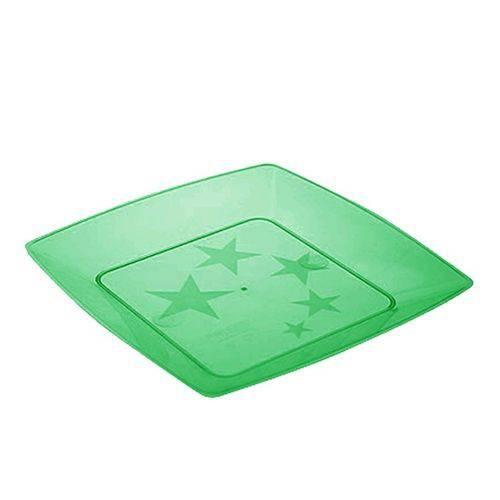 Prato Acrílico Quadrado 22cm C/ 10 Unidades Verde Escuro