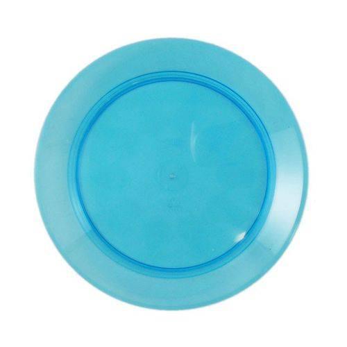 Prato Acrílico Redondo 21cm Azul C/ 10 Unidades