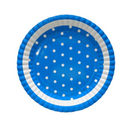 Prato Azul Poá Branco - 10 Unidades